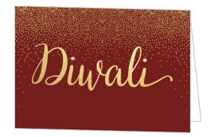 Burgundy Gold Diwali Card