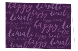 Simple Purple Watercolor Diwali Card