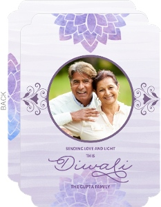 Purple Watercolor Diwali Photo Card