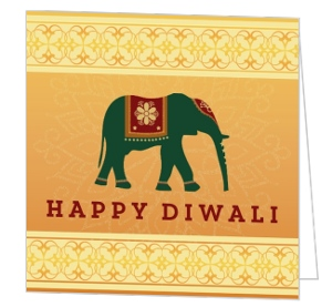 Gradient Lord Ganesha Diwali Card