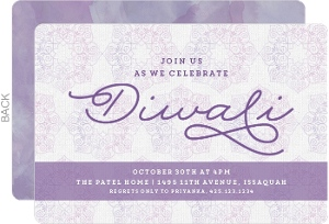 Purple Patterned Diwali Invitation