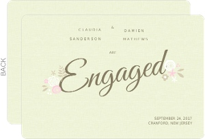 Pink and White Flowers Engagement Announcement