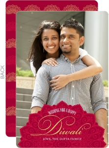 Red Ornate Frame Diwali Photo Card