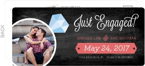 Modern Chalkboard Diamond Ring Engagement Announcement Postcard