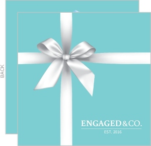 White Ribbon Box Engagement Announcement Card