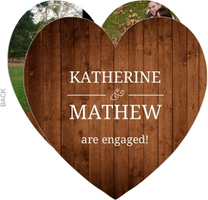 Simple Rustic Wood Heart Shaped Engagement Announcement
