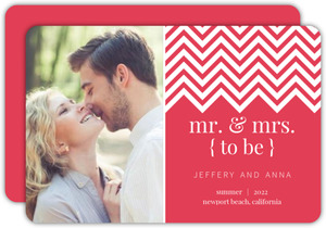 Simple Pink Chevron Engagement Announcement
