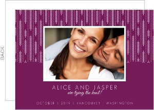 Purple and White Willow Leaves Engagement Announcement