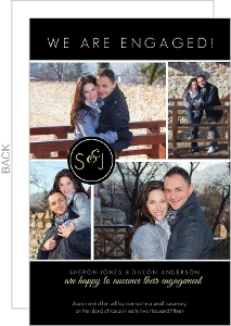 Black Multi Photo Engagement Announcement