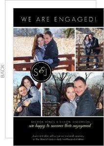 Black Multi Photo Engagement Announcement