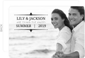 Black Floral Frame Engagement Announcement