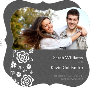 Gray With White Flowers Engagement Announcement