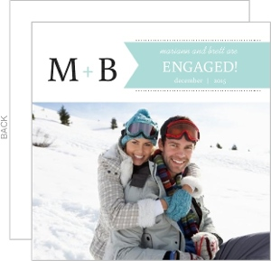 Blue And Black Monogram Engagement Announcement