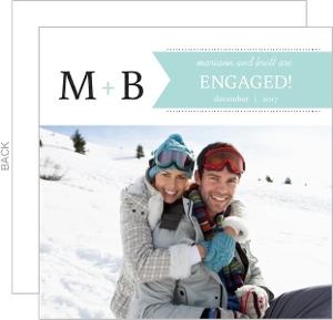 Blue and Black Monogram Engagement Announcement