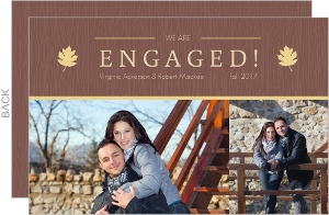 Rustic Fall Leaves Engagement Announcement