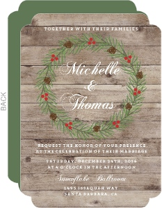 Rustic Woodgrain Wreath Wedding Invitation