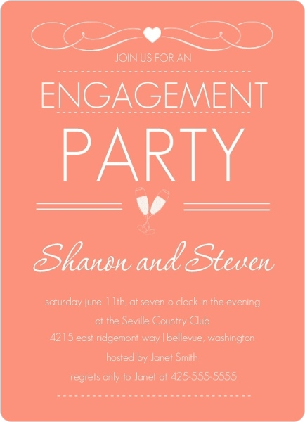 Elegant Dusty Rose Engagement Party Invite – Elegant Engagement Party Invitations