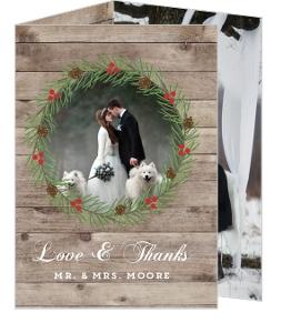 Rustic Woodgrain Wreath Wedding Thank You Card