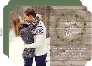 Rustic Woodgrain Wreath Save The Date Card