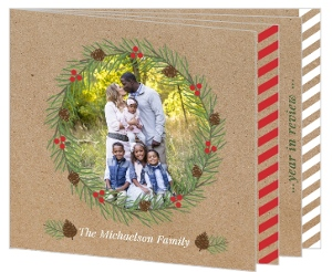 Beautiful Kraft Wreath Booklet Christmas Photo Card