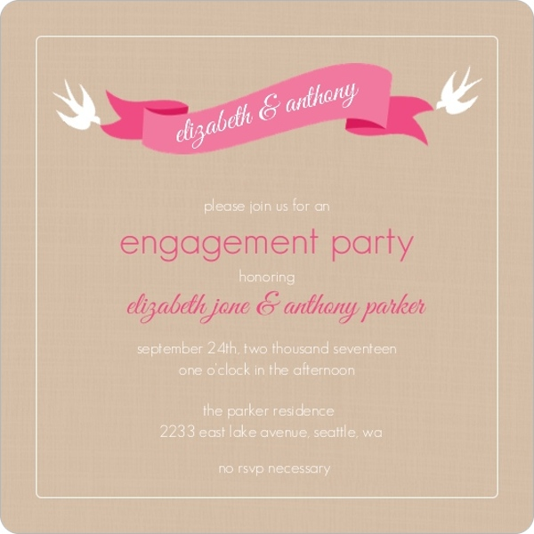 Pink Banner and Swallows Engagement Party Invitation – Sample Engagement Party Invitations