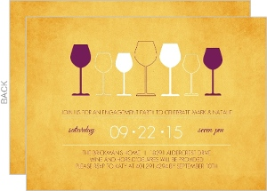 Rustic Yellow Wine Glasses Party Invitation