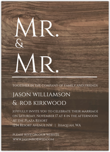 Blue Male Modern Icons Gay Wedding Invitation