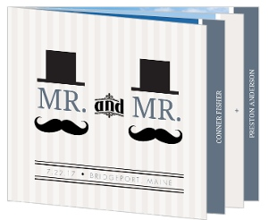 Cream and Blue Mustache  Gay Wedding Invitation