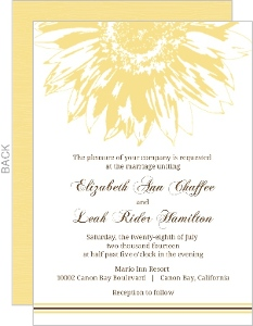 Simple Sunflower Brown And Yellow Gay Wedding Invite