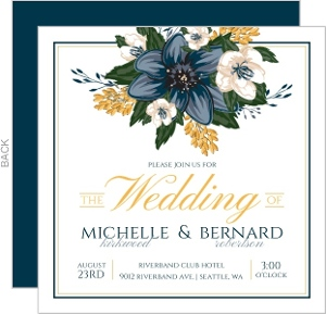 Modern Blue Floral Wedding Invitation