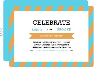 Modern Orange and Aqua Stripes  Gay Wedding Invitation
