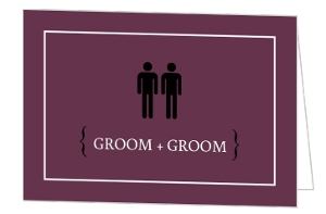 Purple Male Modern Icons Gay Wedding Invitation