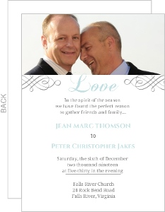 Elegant Gray and Blue Gay Wedding Invite