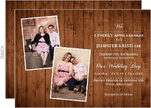 Wooden Picture Perfect Love Gay Wedding Invitation