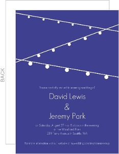 Blue With White Lights Gay Wedding Invitation