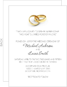 Gold Rings Wedding Invite