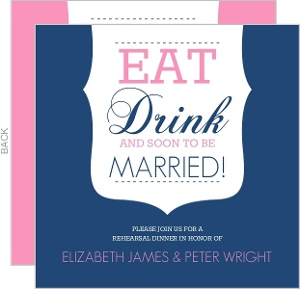 Simple Modern Eat And Drink Rehearsal Dinner Invitations