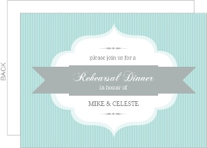 Aqua Stripe Rehearsal Dinner Invite