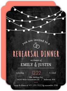 Coral Chalkboard Lights Dinner Party Invite