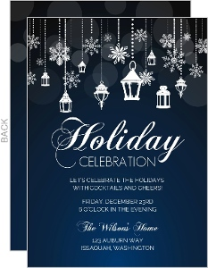 Snowflake Lantern Holiday Party Invitation