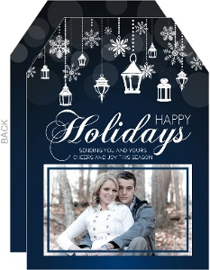 Snowflake Lantern Holiday Photo Card