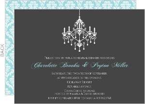 Elegant Chandelier Rehearsal Dinner Invites