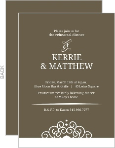 Olive And White Intricate Frame Rehearsal Dinner Invitation