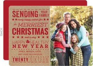 Kraft Red Holiday Photo Card