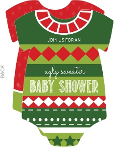 Christmas Spirit Sweater Baby Shower Invitation