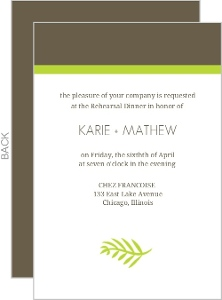 Green Spring Pattern Wedding Rehearsal Dinner Invite