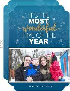 Blue Lagoon Snowflake Holiday Photo Card