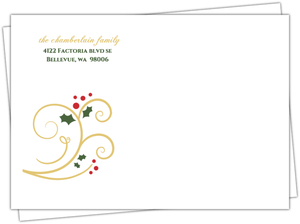 Gold Red and Green New Years Envelope
