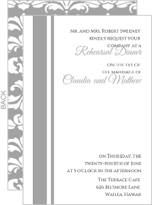 Elegant Gray And White Striped Rehearsal Invite