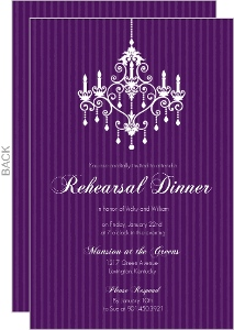 Purple Chandelier Rehearsal Invitation